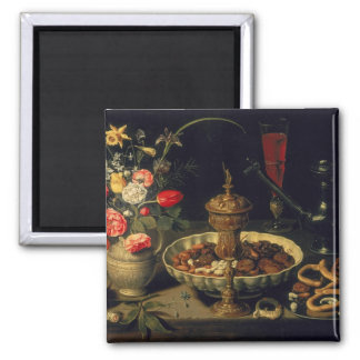 Still Life of Flowers and Dried Fruit, 1611 2 Inch Square Magnet