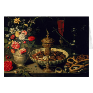Still Life of Flowers and Dried Fruit, 1611 Card