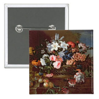 Still Life of Flowers in a Basket 2 Inch Square Button