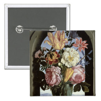 Still life of flowers in a drinking glass 2 inch square button