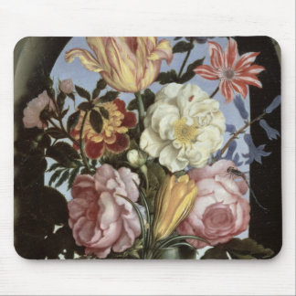 Still life of flowers in a drinking glass mouse pad