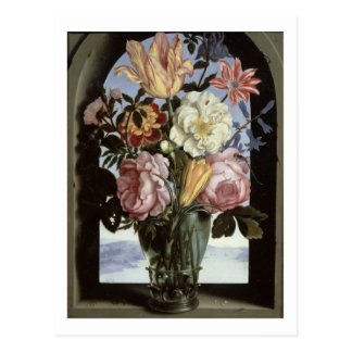 Still life of flowers in a drinking glass post card