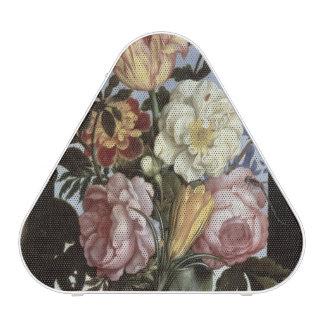 Still life of flowers in a drinking glass speaker