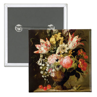 Still Life of Flowers in a Vase with a Lizard on a 2 Inch Square Button