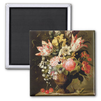 Still Life of Flowers in a Vase with a Lizard on a 2 Inch Square Magnet