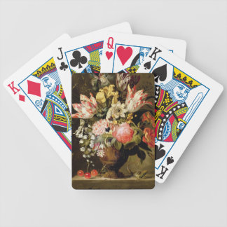 Still Life of Flowers in a Vase with a Lizard on a Bicycle Playing Cards