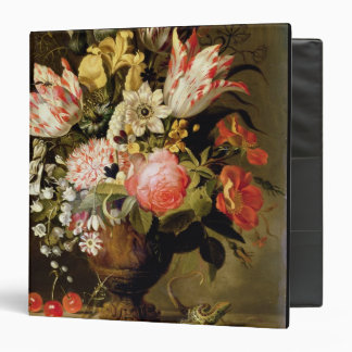 Still Life of Flowers in a Vase with a Lizard on a Binder