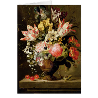 Still Life of Flowers in a Vase with a Lizard on a Card