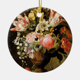 Still Life of Flowers in a Vase with a Lizard on a Ceramic Ornament