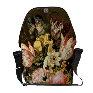 Still Life of Flowers in a Vase with a Lizard on a Courier Bag