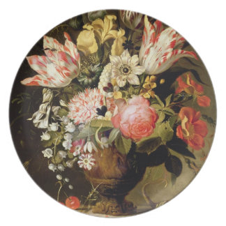 Still Life of Flowers in a Vase with a Lizard on a Dinner Plate