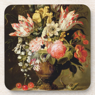 Still Life of Flowers in a Vase with a Lizard on a Drink Coaster
