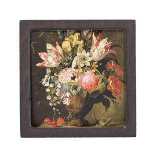 Still Life of Flowers in a Vase with a Lizard on a Gift Box