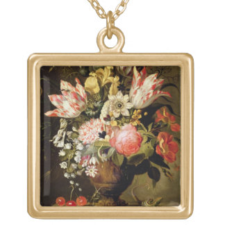 Still Life of Flowers in a Vase with a Lizard on a Gold Plated Necklace