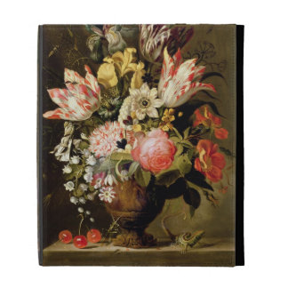 Still Life of Flowers in a Vase with a Lizard on a iPad Folio Case