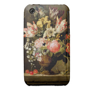 Still Life of Flowers in a Vase with a Lizard on a iPhone 3 Cover