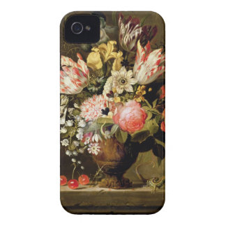 Still Life of Flowers in a Vase with a Lizard on a iPhone 4 Case