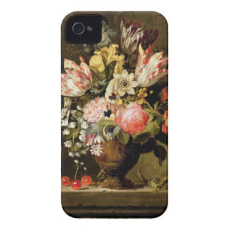 Still Life of Flowers in a Vase with a Lizard on a iPhone 4 Case-Mate Case