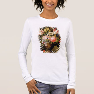 Still Life of Flowers in a Vase with a Lizard on a Long Sleeve T-Shirt