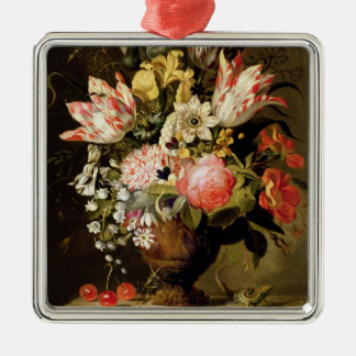 Still Life of Flowers in a Vase with a Lizard on a Metal Ornament