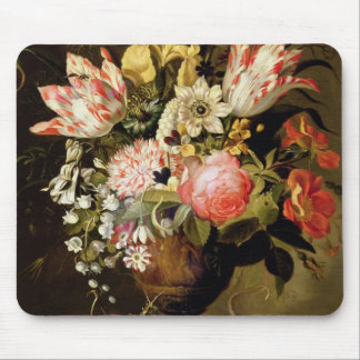 Still Life of Flowers in a Vase with a Lizard on a Mouse Pad