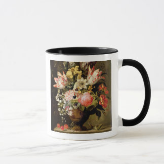 Still Life of Flowers in a Vase with a Lizard on a Mug