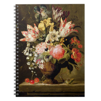 Still Life of Flowers in a Vase with a Lizard on a Notebook