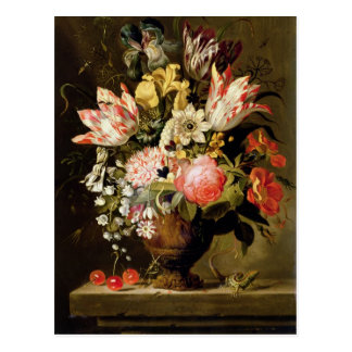 Still Life of Flowers in a Vase with a Lizard on a Postcard
