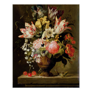Still Life of Flowers in a Vase with a Lizard on a Poster