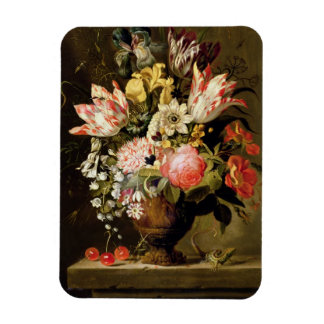 Still Life of Flowers in a Vase with a Lizard on a Rectangular Photo Magnet