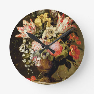 Still Life of Flowers in a Vase with a Lizard on a Round Clock