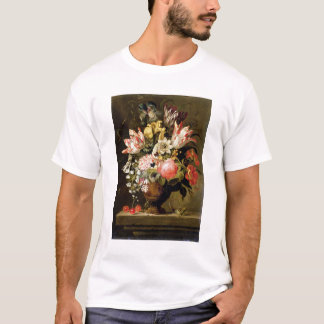 Still Life of Flowers in a Vase with a Lizard on a T-Shirt