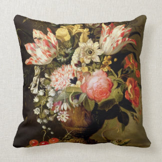 Still Life of Flowers in a Vase with a Lizard on a Throw Pillow
