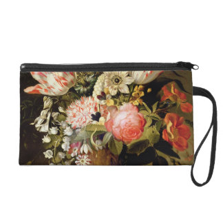 Still Life of Flowers in a Vase with a Lizard on a Wristlet Purse
