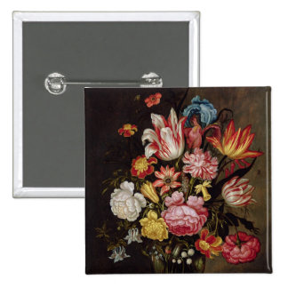 Still Life of Flowers in an Ovoid Vase 2 Inch Square Button