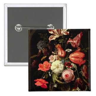 Still Life of Flowers on a Ledge 2 Inch Square Button