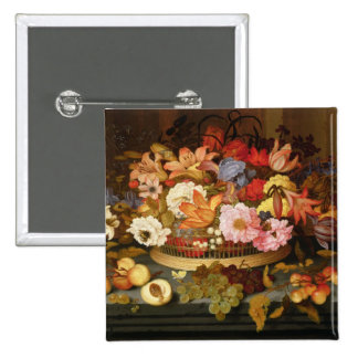 Still Life of Fruit and a Basket of Flowers 2 Inch Square Button