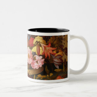 Still Life of Fruit and a Basket of Flowers Two-Tone Coffee Mug