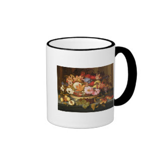 Still Life of Fruit and a Basket of Flowers Ringer Coffee Mug