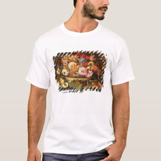 Still Life of Fruit and a Basket of Flowers T-Shirt