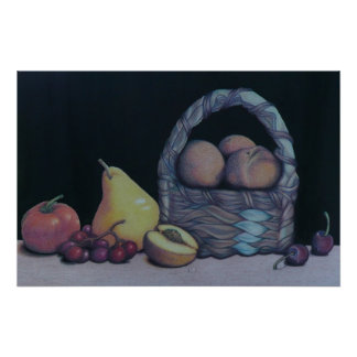 Still-life of Fruit and Basket Print