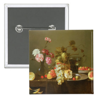 Still Life of Fruit and Flowers 2 Inch Square Button