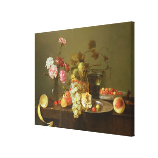 Still Life of Fruit and Flowers Canvas Print