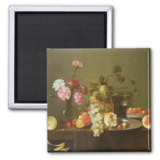 Still Life of Fruit and Flowers Magnet