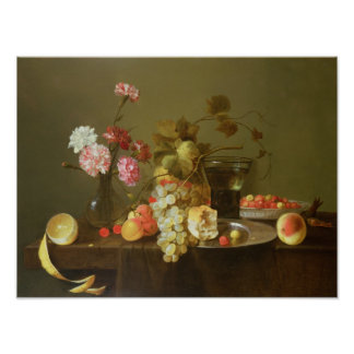 Still Life of Fruit and Flowers Poster
