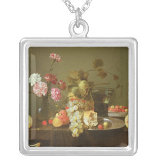 Still Life of Fruit and Flowers Silver Plated Necklace
