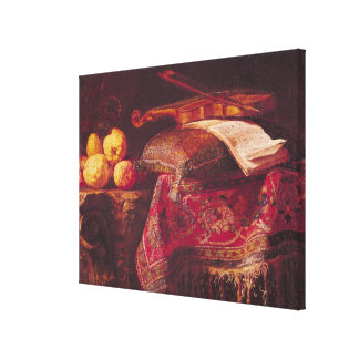 Still Life of Fruit and Musical Instruments Canvas Print