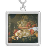 Still Life of Fruit Square Pendant Necklace
