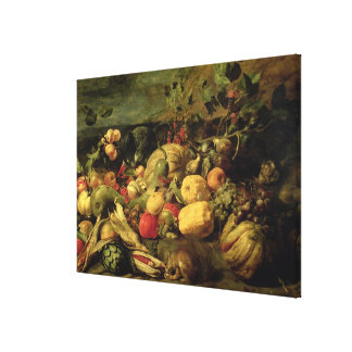 Still Life of Fruits and Vegetables (oil on panel) Canvas Print