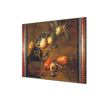 Still Life of Fruits from Surinam and Reptiles Canvas Print